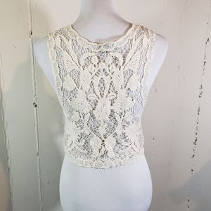 Express S Boho cream open macrame vest